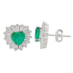 6.82cts green emerald (lab) topaz 925 sterling silver stud earrings c9498