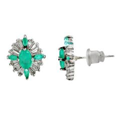 4.67cts green emerald (lab) topaz 925 sterling silver stud earrings c9508