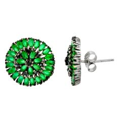 4.82cts green emerald (lab) topaz 925 sterling silver stud earrings c9510