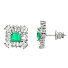 7.12cts green emerald (lab) topaz 925 sterling silver stud earrings c9527