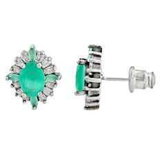 4.67cts green emerald (lab) topaz 925 sterling silver stud earrings c9531