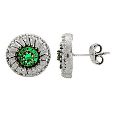 6.02cts green emerald (lab) topaz 925 sterling silver stud earrings c9533