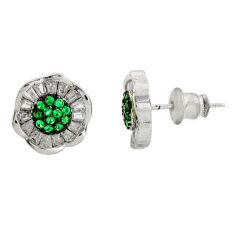 3.59cts green emerald (lab) topaz 925 sterling silver stud earrings c9567