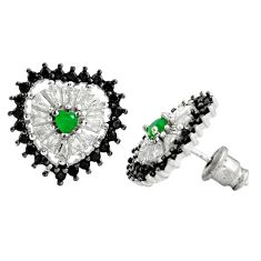 6.45cts green emerald (lab) topaz 925 sterling silver stud earrings c9591