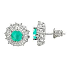 6.74cts green emerald (lab) topaz 925 sterling silver stud earrings c9607