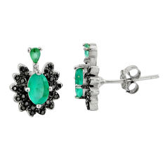 3.41cts green emerald (lab) topaz 925 sterling silver stud earrings c9614