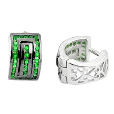 2.25cts green emerald quartz 925 sterling silver earrings jewelry a90428 c24785