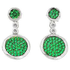 Green emerald quartz topaz 925 sterling silver dangle earrings c26068