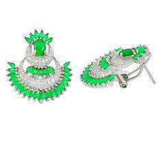 Green emerald quartz topaz 925 sterling silver stud earrings c19519