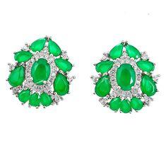 Green emerald quartz topaz 925 sterling silver stud earrings c20141