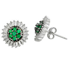 Green emerald quartz topaz 925 sterling silver stud earrings c22424