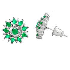 Green emerald quartz topaz 925 sterling silver stud earrings jewelry c22426