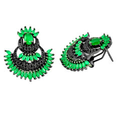 Green emerald quartz topaz rhodium 925 sterling silver stud earrings c19426