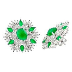 22.59cts green emerald quartz white topaz 925 sterling silver earrings c20115