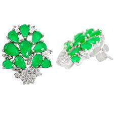 Green emerald quartz white topaz 925 sterling silver stud earrings c19365