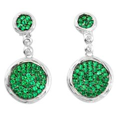 3.40cts green emerald quartz white topaz sterling silver earrings a90196 c24737