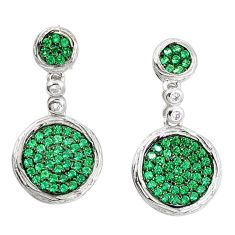 3.18cts green emerald quartz white topaz sterling silver earrings a90219 c24726