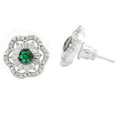 Green emerald topaz quartz 925 silver stud earrings jewelry c19477