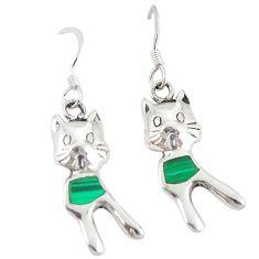 Green malachite (pilot's stone) 925 silver cat earrings jewelry c11856