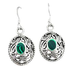 Green malachite (pilots stone) 925 silver dangle earrings jewelry c11725