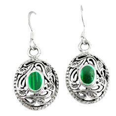 Green malachite (pilots stone) 925 silver dangle earrings jewelry c11730