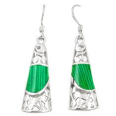 Green malachite (pilots stone) 925 silver dangle earrings jewelry c11748