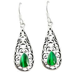 Green malachite (pilot's stone) 925 silver dangle earrings jewelry c11838