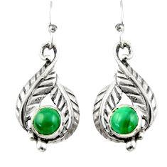 2.02cts green malachite (pilot's stone) 925 silver dangle earrings r42921
