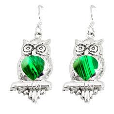 Green malachite (pilots stone) 925 silver owl earrings jewelry c11583