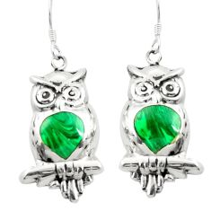 Green malachite (pilots stone) 925 silver owl earrings jewelry c11792