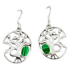 Green malachite (pilots stone) 925 sterling silver tree of life earrings c11668