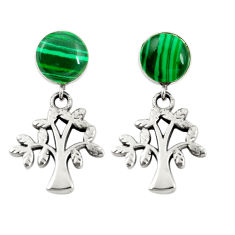 Green malachite (pilots stone) 925 silver tree of life earrings c11696