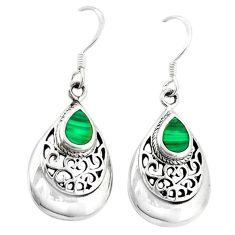 Green malachite (pilots stone) 925 sterling silver dangle earrings c11740