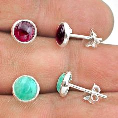 4.69cts green peruvian amazonite garnet 925 silver 2 pair studs earrings t50872
