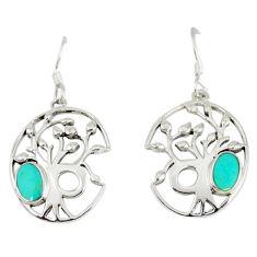 Fine green turquoise enamel 925 sterling silver tree of life earrings c11673
