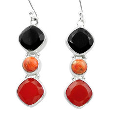 Clearance Sale- 15.69cts halloween natural onyx red sponge coral onyx silver earrings t57533