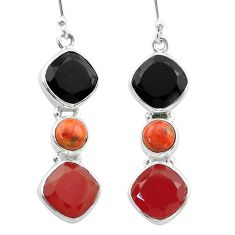 16.46cts halloween natural onyx sponge coral honey onyx silver earrings t57538