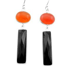 Clearance Sale- 15.89cts halloween natural orange cornelian onyx 925 silver earrings t57541