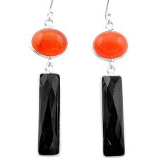 16.50cts halloween natural orange cornelian onyx 925 silver earrings t57547