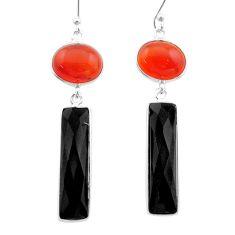 17.08cts halloween natural orange cornelian onyx 925 silver earrings t57551