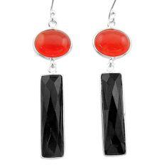 Clearance Sale- 15.89cts halloween natural orange cornelian onyx 925 silver earrings t57559
