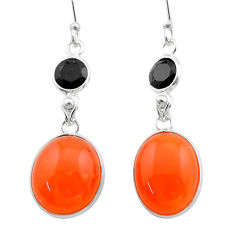 Clearance Sale- 15.20cts halloween natural orange cornelian onyx 925 silver earrings t57595