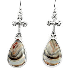 20.26cts heart mexican laguna lace agate 925 silver holy cross earrings r46957