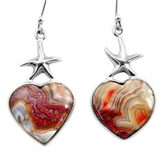 12.98cts heart mexican laguna lace agate 925 silver star fish earrings r46836