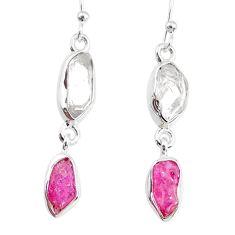 9.27cts herkimer diamond raw ruby raw 925 silver dangle handmade earrings r74331