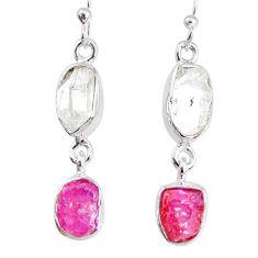 9.80cts herkimer diamond raw ruby raw 925 silver dangle handmade earrings r74332