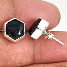 8.49cts hexagon natural black onyx 925 sterling silver stud earrings r93654