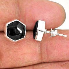 8.49cts hexagon natural black onyx 925 sterling silver stud earrings r93659
