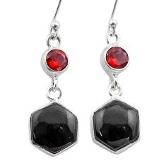 Clearance Sale- 12.06cts hexagon natural black onyx red garnet 925 silver earrings t48291