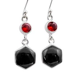 Clearance Sale- 12.50cts hexagon natural black onyx red garnet 925 silver earrings t48294